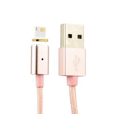 USB дата-кабель COTEetCI M11 с индикатором NYLON Lightning+Magnet System для Apple CS2117-MRG (1.2 м) Розовое золото - фото 5241