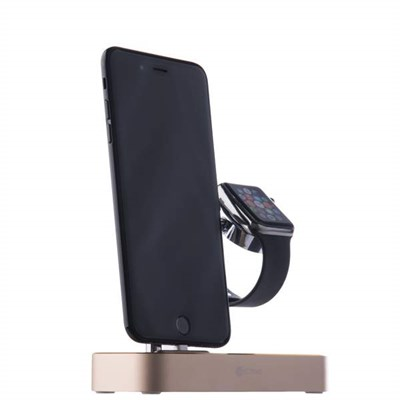 Док-станция&USB-концентратор COTEetCI Base (B18)MFI для Apple Watch & iPhone X/ 8 Plus/ 8 2in1 stand (CS7200-CEG) Золотистая - фото 5313