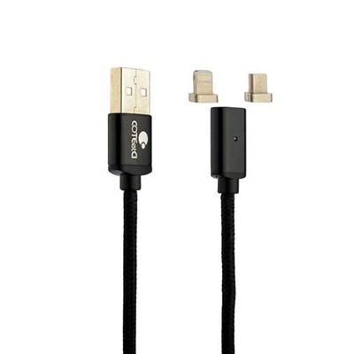 USB дата-кабель COTEetCI M43 с индикатором NYLON USB Lightning & microUSB 2in1+Magnet System CS2157-BK (1.2 м) Черный - фото 10199