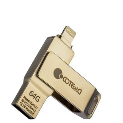 Флеш-накопитель COTEetCI U2 Civilian Version iUSB (CS5123-64G) с разъемом Lightning для iOS, Mac/ PC 64 Gb Серебристый - фото 10207