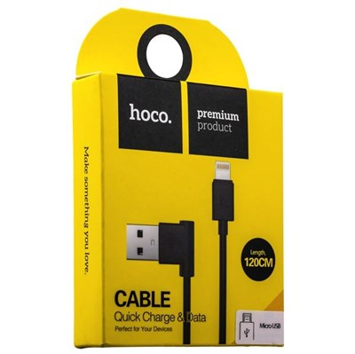 USB дата-кабель Hoco UPM10 L Shape MicroUSB Cable (1.2 м) Черный - фото 10947