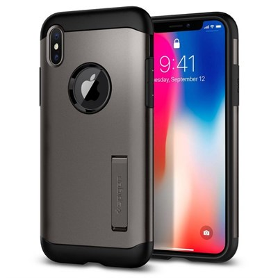 Чехол-накладка Spigen SGP для iPhone X Case Slim Armor 065CS25153, Gun Metal - фото 14316