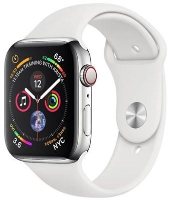 Часы Apple Watch Series 4 GPS + Cellular 40mm Stainless Steel Case with Sport Band Серебристый/Белый - фото 15182