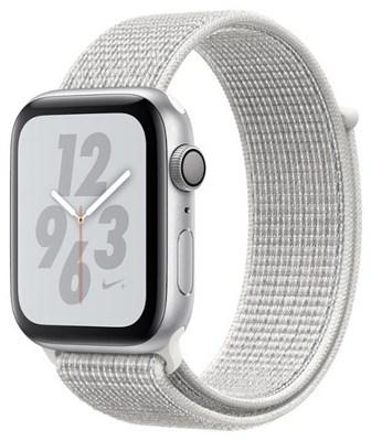 Часы Apple Watch Series 4 GPS 44mm Aluminum Case with Nike Sport Loop MU7H2 Summit White, Серебристый/Снежная вершина - фото 15307
