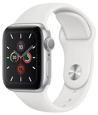 Часы Apple Watch Series 5 GPS 44mm Aluminum Case with Sport Band MWVD2 Серебристый/белый - фото 15700