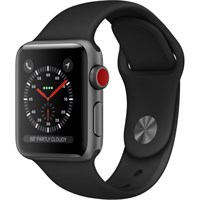 Часы Apple Watch Series 3 Cellular 38mm Aluminum Case with Sport Band Black/Черный MQJP2