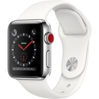 Часы Apple Watch Series 3 Cellular 38mm Stainless Steel Case with Sport Band Белый