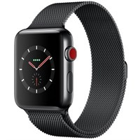 Часы Apple Watch Series 3 Cellular 38mm Stainless Steel Case with Milanese Loop Black MR1H2