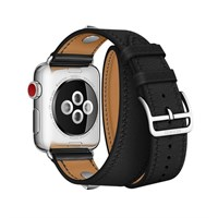 Ремешок для часов Apple Watch, Hermes - 38mm Noir Swift Leather Double Tour Medor Кожа