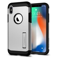Чехол-накладка Spigen SGP Rugged Tought Armor для iPhone X, Satin Silver