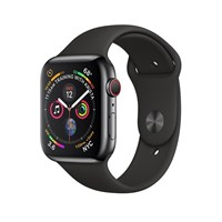 Часы Apple Watch Series 4 GPS + Cellular 44mm Stainless Steel Case with Sport Band Серый Космос/Черный
