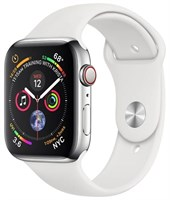 Часы Apple Watch Series 4 GPS + Cellular 44mm Stainless Steel Case with Sport Band Серебристый/Белый