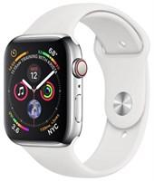 Часы Apple Watch Series 4 GPS + Cellular 44mm Stainless Steel Case with Sport Band Серебристый/Белый