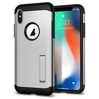 Чехол-накладка Spigen SGP для iPhone X Case Slim Armor 057CS22546, Satin Silver